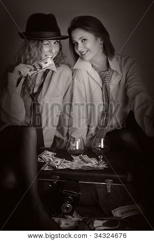 Portrait Of Two Beauty Girls In Man Shirts Like Old Newspaper Photo