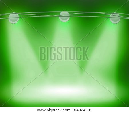 Green Spotlights Background