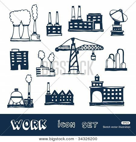 Industrial buildings icons set