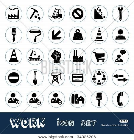 Industrial, work and repair web icons set