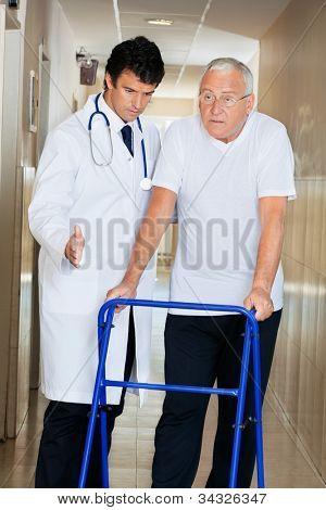 Doctor helping senior patient walk down hallway using Zimmer frame