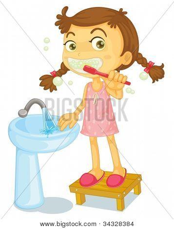 ilustração de uma menina escovando os dentes em um fundo branco