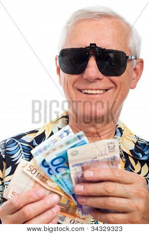 Happy Rich Elderly Man With Money