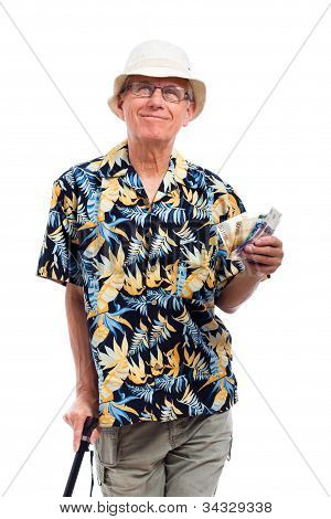 Happy Elderly Man With Money