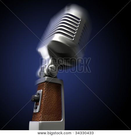 3D rendering of a retro microphone on a blue background