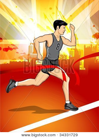 Illustration of a man athlete running on grungy abstract background. EPS 10.
