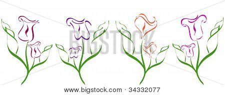 Vector Illustration Of A Set Of Flower Silhouette  Isolated On White Background