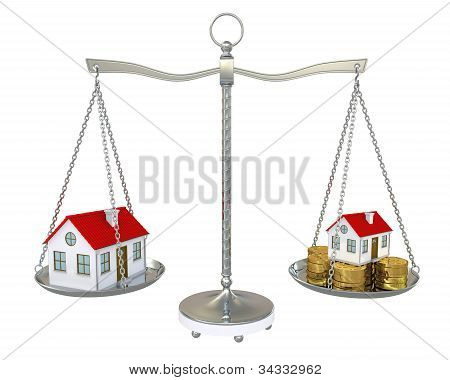 Large And Small Home With Gold Coins On The Scale