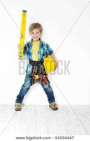 Little Boy Handyman With Helmet, Level And Tool Belt