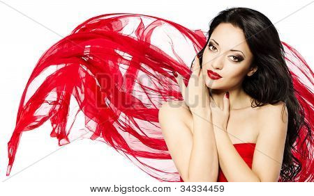 Beautiful Woman Portrait With Red Lips And Waving Scarf