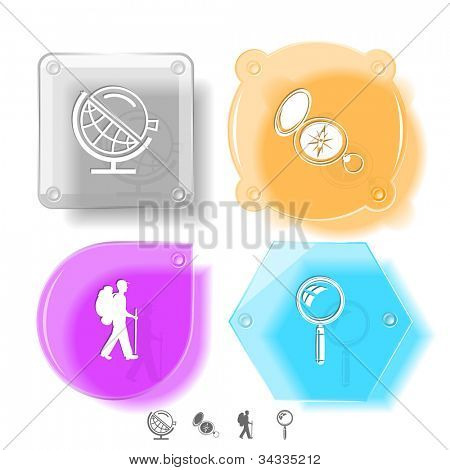 Education icon set. Magnifying glass, compass, traveller, globe and loupe. Glass buttons. Vector illustration. Eps10.