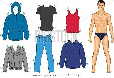 Man and clothes colored collection (you can use for scissors cutting out)