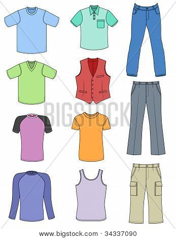 Man clothes colored summer collection isolated on white