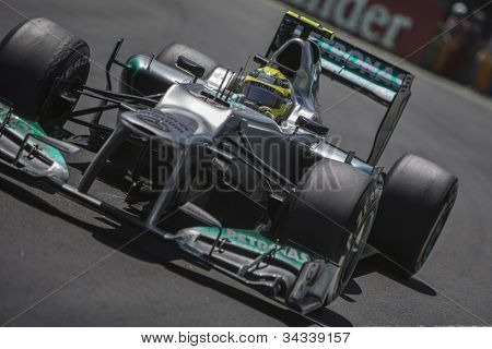 VALENCIA, SPAIN - JUNE 24: Nico Rosberg in the Formula 1 Grand Prix of Europe, Valencia Street Circuit. Spain on June 24, 2012