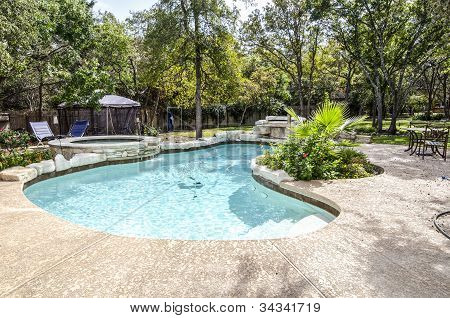 Swimming Pool in nice backyard