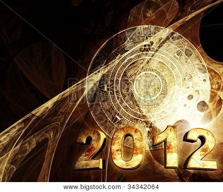 2012. Maya prophecy. Horizontal background with Maya calendar