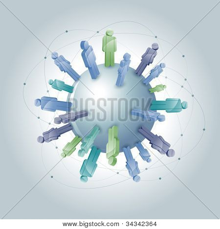 Vector global community concept illustration. Gray. Elements are layered separately in vector file.