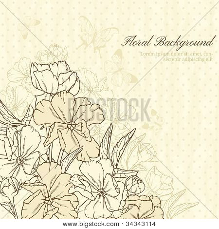 Elegant floral background with butterflies in retro style