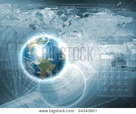Blue globe on the digital technology background