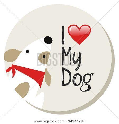 I Love My Dog Label