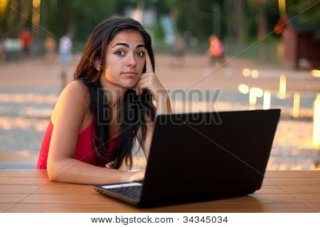 Girl With Laptop - Thinking