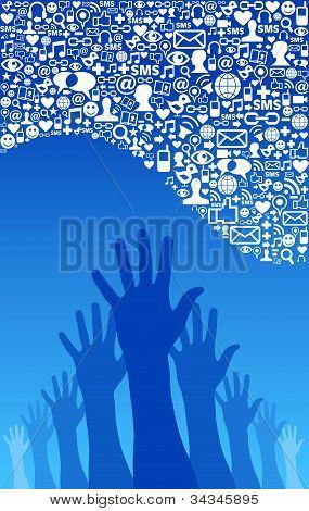 Red de medios sociales los iconos y mano