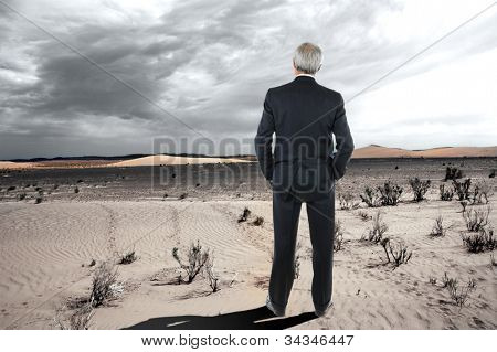 A middle aged businessman stranding in the desert. Man is wearing a suit and seen from behind with his hands in his pockets.