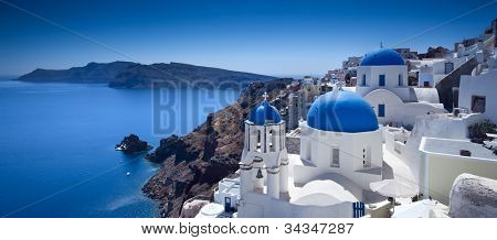 Churches on Santorini Cliffs