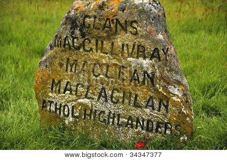Culloden battle field memorial stone