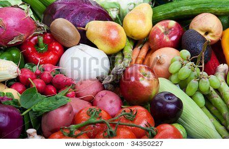 Hortalizas y frutos sanos