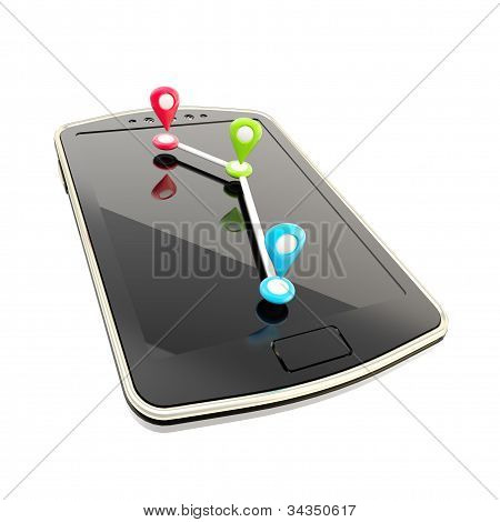 Mobile gps navigation concept illustration