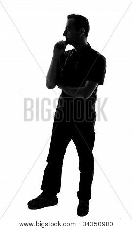 Silhouette Of A Young Man Thinking