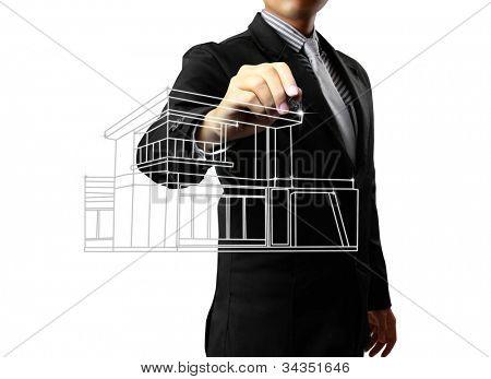 Dibujo de una casa de hombre de negocios