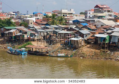 Poor District In Phnom Penh, Cambodia