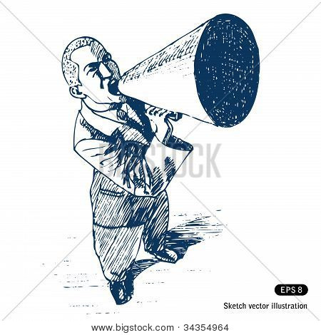 Man speaking in megaphone