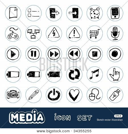 Media and communication web icons set