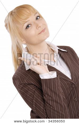 Portrait of a happy beautiful young blonde woman smiling