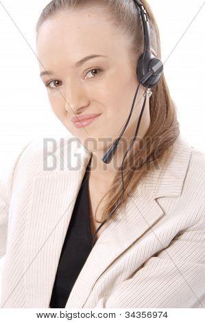 Closeup portrait of a happy female customer service representative
