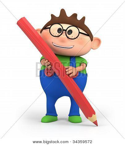 Boy Holding Pencil