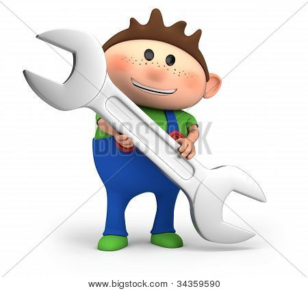 Boy Holding A Wrench