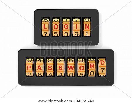 Login und Passwort als eine Kombination der Systemzugriff. 3D