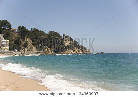 Spain.  An Old Fortress On The Rock In Lloret De Mar.
