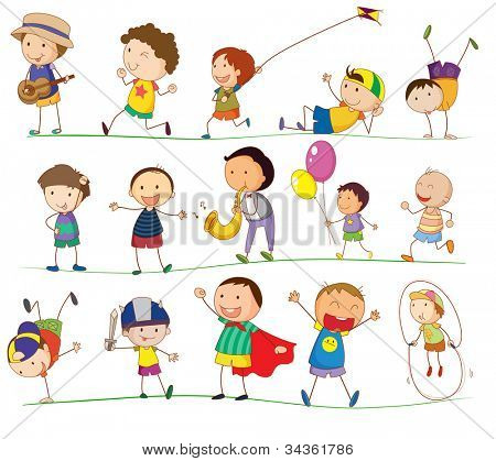 illustration of a boys doing various activities