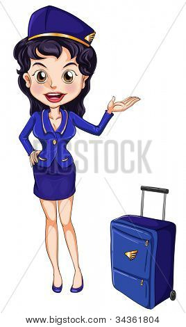 Illustration of an air hostess on white