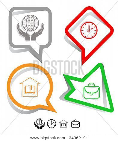Education icon set. Protection world, clock, briefcase, library. Paper stickers. Vector illustration.