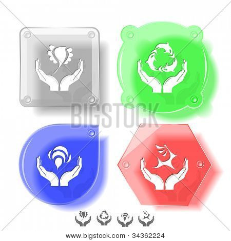 Animal icon set. Protection nature, deer in hands, bird in hands, bee in hands.  Glass buttons. Vector illustration. Eps10.