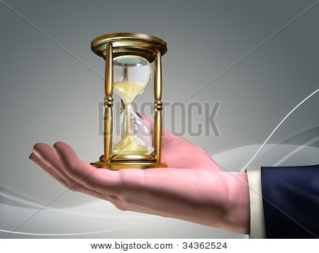 Businessman holding an hourglass in his open hand. Digital illustration.