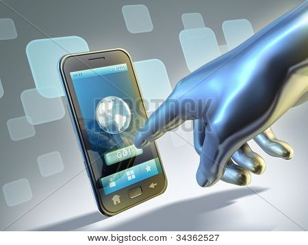 Connecting to internet with a touch screen mobile phone. Digital illustration.