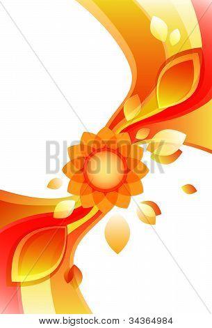 modern sunflower design in rich orange