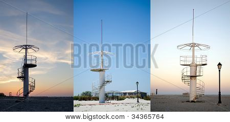Tower On The Beach In Morning, Noon And Evening